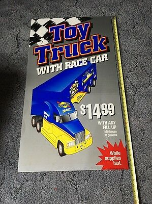 Vintage Sunoco Gas Station Toy Truck W/race Car Poster Sign