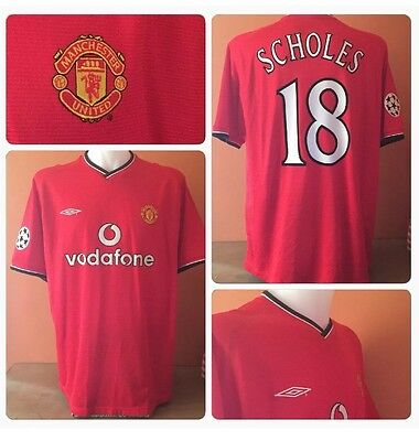 Manchester United 2000 / 2002 Home Football Shirt - Vintage Retro Scholes 18 UCL