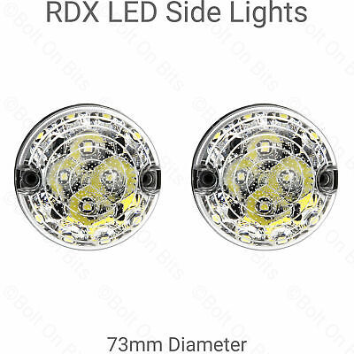 2 RDX LED 73mm Front Side Lights For Land Rover Defender 90 110 Kit Cars
