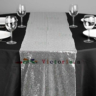 12''*108'' Sparkly Silver Sequin Table Runner For Birthday/Party/Wedding Decor