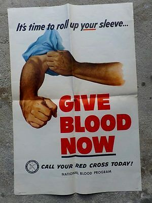 Red Cross GIVE BLOOD NOW Vintage Advertising Poster