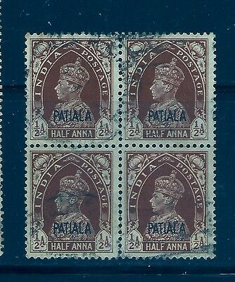 1941-46 Patiala State,sg99 Fine Used, Block Of 4 Kgvi,india,indian States
