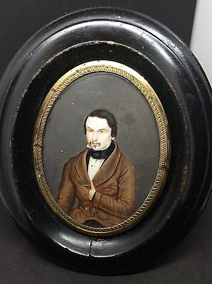 Fine 19th Century Portrait Miniature Painting Of A Gentlemen Seated c1850