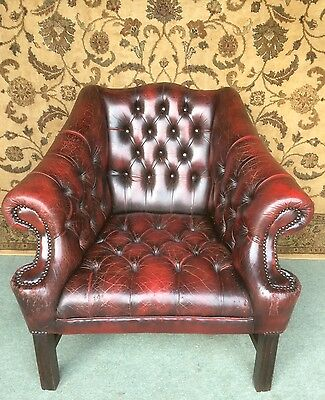 A Shabby Vintage Ox Blood Leather Chesterfield Club Armchair ~ Cat Damaged!!!!