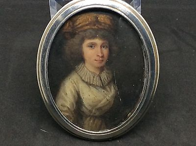 Superb French Solid Silver Case Portrait Miniature Of A Lady c1760 Georgian