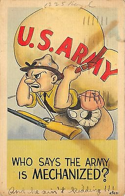 Army Cartoon Postcard~Soldier with Gun Carrying HUGE Sack~1942 Linen
