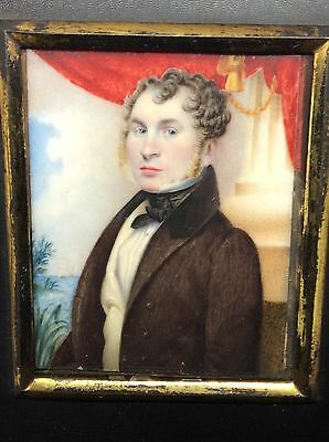 Superb Georgian c1820 Master Portrait Miniature Painting Of A Gentlemen