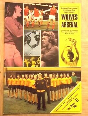 FA CUP SEMI-FINAL PROGRAMME ARSENAL v WOLVES 31st MARCH 1979 EXCELLENT CONDITION
