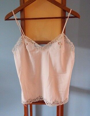 Vintage Pale Pink Silk Embroidered Lace Camisole / XS-S