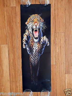 """LEAPING LEOPARD Art by Andrew Farley 11 ¾"""" x 36"""" Panorama Poster"""