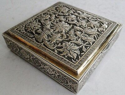 ANTIQUE PERSIAN SOLID 84 SILVER COVERED BOX BIRD DECOR JAHROMI ISFAHAN 1920 212g