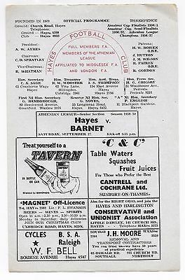 Hayes V Barnet Athenian League 1958/59 Season
