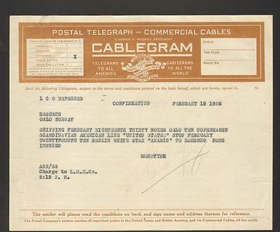 1926 Shipping Notice Cablegram Postal Telegraph Commercial Cables Mackay System