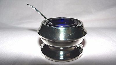 Silver plate mustard pot with blue liner & spoon