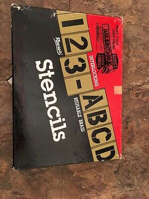 Vintage  Reese's Adjustable 5 Inch Brass Stencils Lockedge Letters A-Z Complete