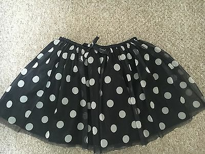 Bnwt H&m Black Spotty Dots Netted Tutu Style Skirt Elasticated Waist 7-8 Years