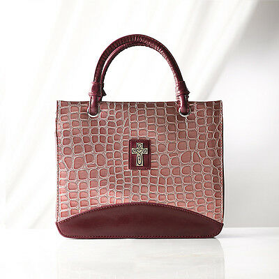 Croc Embossed Purse Style Bible Cover, Pink, Large