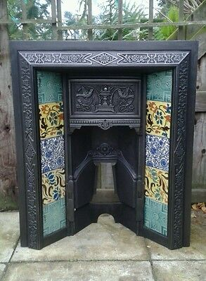 Victorian tiled cast iron fire place