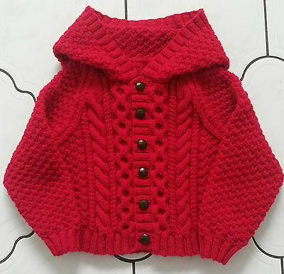 TO ORDER 0-3,3-6,6-12 mnth,1-2,3-4,5-6 years Knitted Aran Hooded Cardigan/Jacket