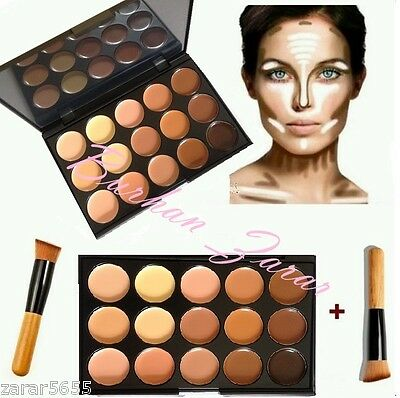 15 Color Concealer and Contour with Brush Face cream Make up kit Palette S2