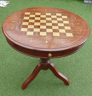 Wooden Chess Board Inlaid Work Coffee Round Table Vintage Look