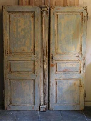 Pair French Louis XVI doors with original paint and hardware - late 18th century