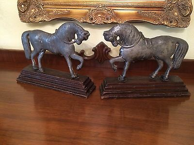Rare Antique Pair Of Trotting Horses Mantle Figures Bookends Doorstops English