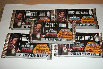 DOCTOR WHO ALIEN ATTAX 50TH ANNIVERSARY EDITION Trading Cards 5 Packs SEALED/.