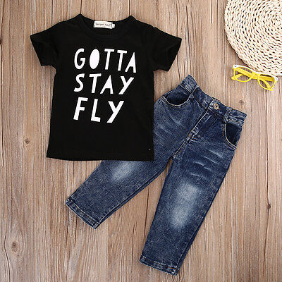 2016 Toddler Kid Infant Baby Boy Clothes T-shirt Top+Denim Pant Outfit Set lot