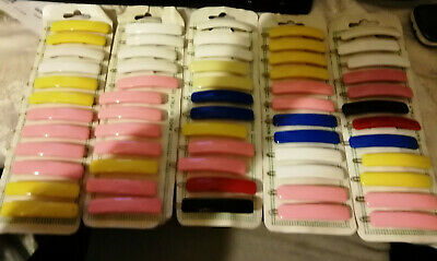 12 VINTAGE HAIR SLIDES ON CARD 1950/60s MIXED COLORS RARE CHANCE TO BUY