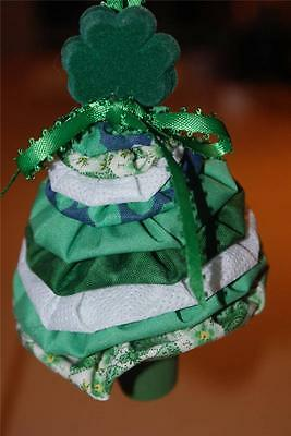 Irish Yo Yo Christmas Tree Ornament - HANDMADE!