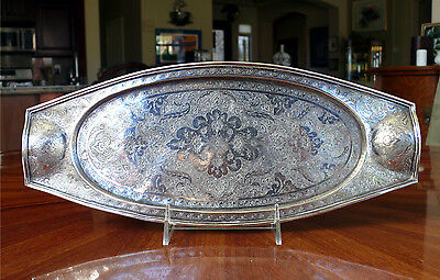 Oblong Chased Persian Islamic 84 Silver (.875) Handled Relish or Bread Tray