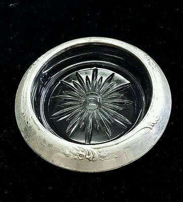 Frank M Whiting & Co Flowered Sterling Silver Rim Glass Ashtray Coaster.