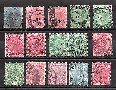 India QV-KGV Collection used abroad in Aden (15V) WS2515