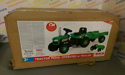 Dolu Green Tractor with Trailer Children's/Kids Ride On Pedal Operated