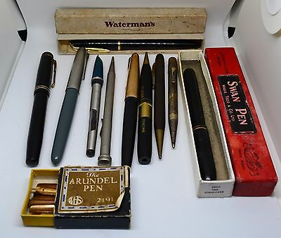 A Collection of Vintage Fountain Pens and Pencils - Swan, Watermans, Parker 51