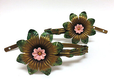 Pair Vintage 1950's Painted Brass Metal Large Flower Drapery Curtain Tie Backs