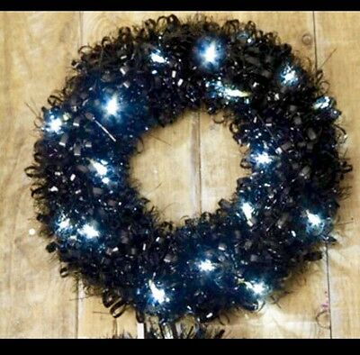 Black 35cm Led Christmas Tinsel Wreath Xmas Decoration