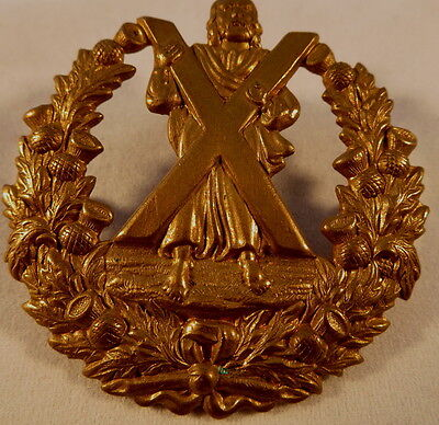 Pre WW1 Cameron Highlanders Gilded Brass Glengarry badge