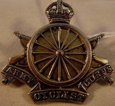 WW1 British Army Cyclist Corps Officers White Metal Badge