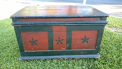 American Antique Trunk Painted Red & Black Americana Hand Made Antique Chest