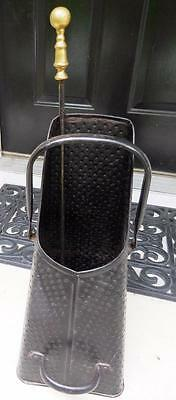 Antique Coal Scuttle Hod Ash Bucket w/ Shovel Pressed Metal Pyramid w/ Dimples