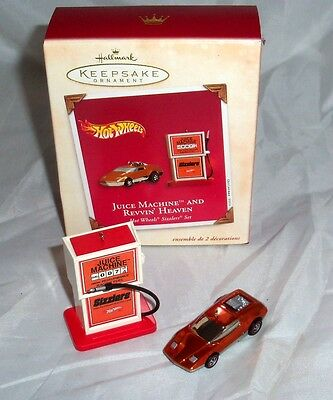 Hallmark Hot Wheels Sizzlers Juice Machine And Revvin Heaven Christmas Ornaments