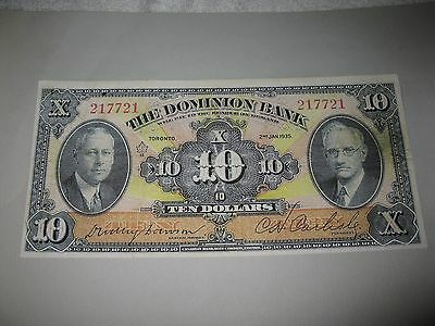 The Dominion Bank   $10.00 Face Proof 1935