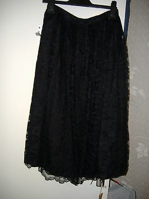 Gina Bacconi Cute Black Lace Skirt 14 Rock Goth Party Vintage 80's Boho