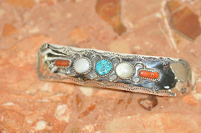 Navajo Sterling Silver & Turquoise, Coral, Mother Of Pearl Hair Clip Barrette