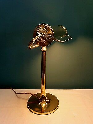 Antique c1910 French Brass Bankers Table Desk Lamp Ball Switch. Fully Rewired