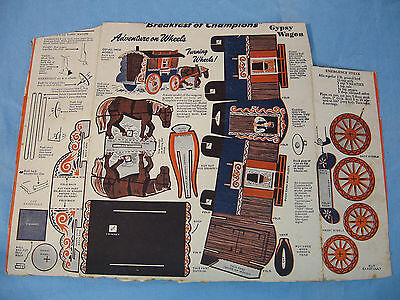 1950 Wheaties Cereal Box Back Adventures on Wheels paper cutouts