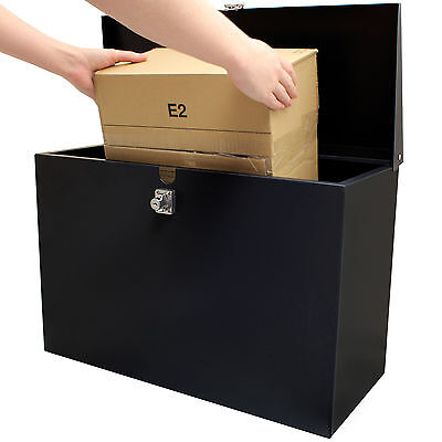 Hardcastle Large Black Lockable Letterbox/Parcel Letter Box Home Delivery Secure