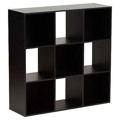 Hartleys Black 9 Cube Modular Square Storage/shelving 3 Tier Shelf Display Unit